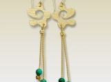 Liquid thoughts - dangle 14k gold filled earrings with turquoises.