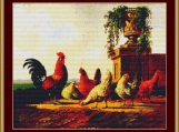 Chickens And Park Vase Cross Stitch Pattern