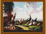 Fowl In A Landscape Cross Stitch Pattern
