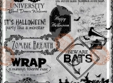 """""""Halloween, Party like a Monster"""" Digi Image and Word Art Set"""