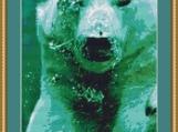 Polar Bear Under Water Cross Stitch Pattern