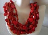 Chuncky 7 Strand Coral Necklace with Matching Earrings