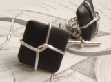 classic black matte glass and sterling wired cufflinks