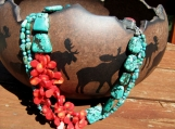 Turquoise and Coral with Swavorski Crystals and Black Onyx beads. Matching Earrings!