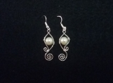 Glass pearl wire wrapped earrings