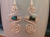 Swirl earrings with mutli color beads