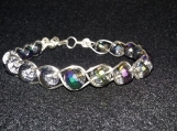 Braided silver plated wire and multi-colored bead bracelet