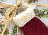 Small Christmas Stocking, Knitted Christmas Ornament, Christmas
