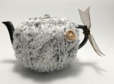 Beige Teapot Cozy, Hand Knit Teapot Cozy, Cabled 2 Cup Cozy