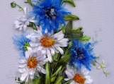 "picture ""Wildflowers"",  Silk ribbon embroidery, ribbonwork"