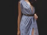 Blue Floral Draped Greecian Goddess Dress - X-SM