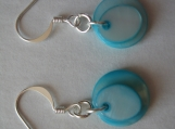 Blue Dyed Mother of Pearl Coin Dangle Earrings