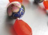 Bonjour Yuriko - Carnelian, Lapis Lazuli, Cloisonne and Sterling Silver bracelet
