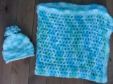 Crochet boys baby blanket and hat