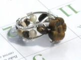 Tiger Eye Flower Mosaic Ring