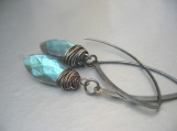 Tom's Storm - Flashy blue faceted marquis labradorite and oxidised sterling silver earrings