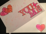 You & Me Hearts Hand-painted Watercolor Greeting Card