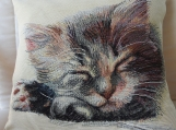 Cat Fast Asleep Tapestry Cushion Cover