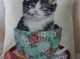 Cat In A Cup Tapestry Cushion Cover