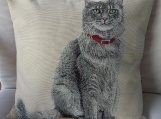 Cat With Red Collar Tapestry Cushion Cover