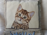 Hello Cat Tapestry Cushion Cover