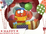 Monster Birthday Shadow Box Card 3D
