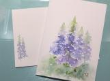 Tall Blue Flowers Matthew 5:8 Hand-painted Card