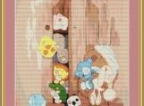 Toys In Cupboard Cross Stitch Pattern