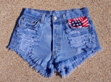 American flag shorts high waiysted shorts US flag red blue and w