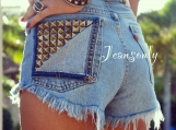 High waisted Levis denim cut off shorts high rise studded jean s