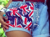 UK British Flag Union Jack Denim shorts Levis high waisted denim