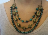 3 row agate and brass beaded necklace