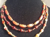 3 row red glass beaded necklace