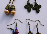 4 pairs of antique bronze tone earrings- mix