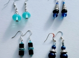 4 pairs of earrings- blue mix (B)