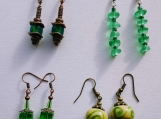 4 pairs of earrings- green mix