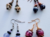 4 pairs of earrings- purple mix