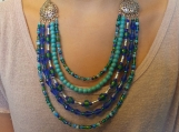 5 row blue & turquoise beaded necklace