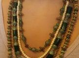 5 row green beaded necklace antique bronze