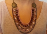5 row subdued pink glass & metal beaded necklace
