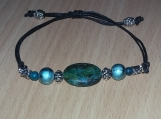 Aqua Tones Stone and bead adjustable bracelet