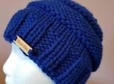 Chunky messy bun hat in royal blue acrylic
