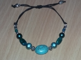 Green Aqua Stone and Bead Adjustable Bracelet