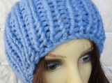 Hand Knitted Blue Ribbed Women's Winter Hat With Blue Pompom