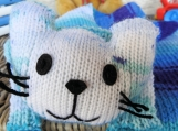 Hand Knitted Child's Blue Cat Scarf
