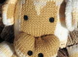 Hand Knitted Child's Brown Shades Monkey Scarf