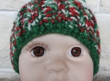 Hand Knitted Child's Multicoloured Christmas Elf Winter Hat