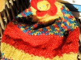Hand Knitted Child's Multicoloured Daisy Flower Winter Hat