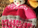Hand Knitted Child's Pink And Grey Kitten Winter Hat
