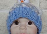 Hand Knitted Medium Child's Multicoloured Snowman Winter Hat